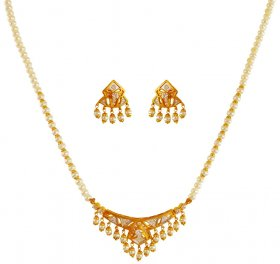 22k Gold  Pearl Necklace Set ( 22K Light Necklace Sets )
