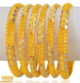 22K Gold Bangles Set (6 PCs) ( Gold Bangle Sets )