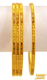 22K  gold Meena Bangles Set ( Gold Bangle Sets )