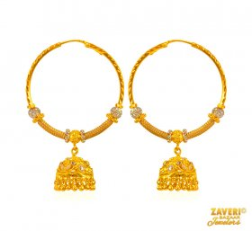 22 Kt Gold Hoops with Jhumki ( 22K Gold Hoops )