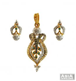 22K Gold Color CZ Pendant Set ( Gold Fancy Pendant Sets )