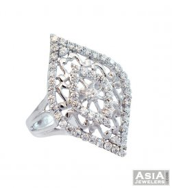 18K Ladies Star Signity Ring ( White Gold Rings )