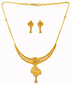 22 Karat Gold Small Necklace Set ( 22K Light Necklace Sets )