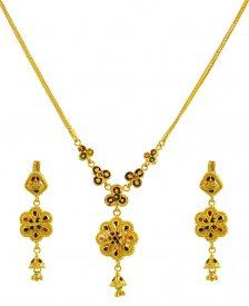 22K Gold 2 side Necklace Set ( 22K Light Necklace Sets )