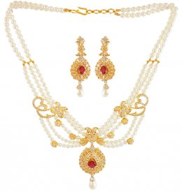 18k Gold Diamond Pearl Necklace Set