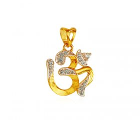 Gold Om Pendant with CZ