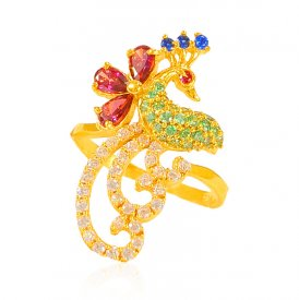 22 kt Gold Traditional Peacock Ring ( Stone Rings )