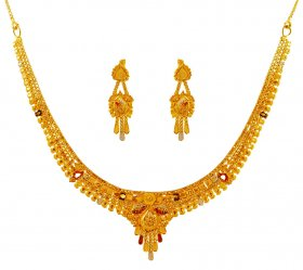 22K Tricolor Necklace Earrings Set ( 22K Light Necklace Sets )