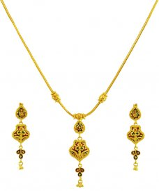 Fancy 22k Reversible Necklace Set  ( 22K Light Necklace Sets )