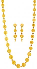 22k Yellow Gold Long Necklace Set ( 22K Necklace Sets (Long) )