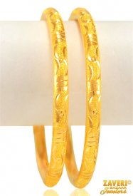 22 kt Gold Machine Bangles (2 Pcs)