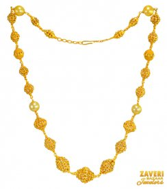 22Kt Gold Balls Necklace with Pearl