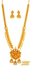 22 KT Gold Long Temple Necklace Set ( 22K Antique Necklace Sets )