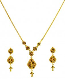 22K Gold Double Design Set ( 22K Light Necklace Sets )