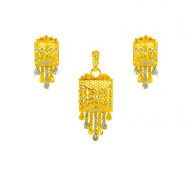 22K Gold Filigree Pendant Set