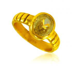 22 Karat Gold Yellow Sapphire Ring ( Gemstone Rings )