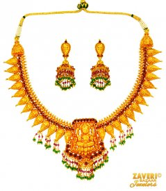 22 Kt Gold Temple Necklace Set ( 22K Antique Necklace Sets )