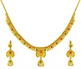 22K Gold Precious Stones Set ( Stone Necklace Sets )