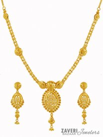 Filigree Necklace Set 22K ( 22K Gold Necklace Sets )