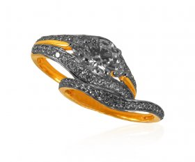 22kt Gold CZ Solitaire Ring