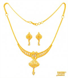 22 k two tone Gold Necklace Set ( 22K Light Necklace Sets )
