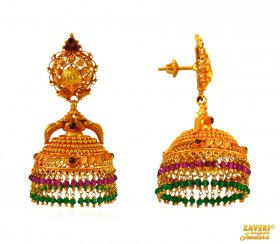 Temple Jhumka in 22K Gold ( Gold Long Earrings )