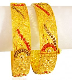 22K Gold Three Tone Kada (2pcs)