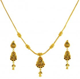 22K Reversible Gold Necklace Set ( 22K Light Necklace Sets )