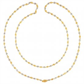 22KT Gold Two Tone Long Fancy Chain ( Long Chains (Ladies) )