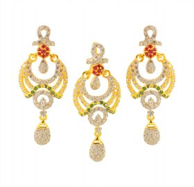 Pendant Set With Cubic Zircons ( Gold Fancy Pendant Sets )