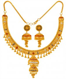 22kt Three Tone Necklace Set