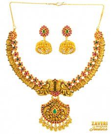 22 kt Traditional Temple Set ( 22K Antique Necklace Sets )