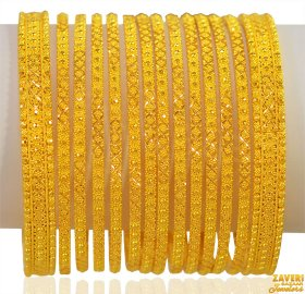 22K Gold Filigree Bangle set of 14  ( Gold Bangle Sets )