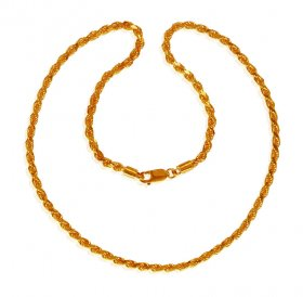 22K Gold Rope Chain 20 In ( Mens Gold Chain )
