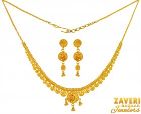 22 Kt Gold Light weight Necklace ( 22K Light Necklace Sets )