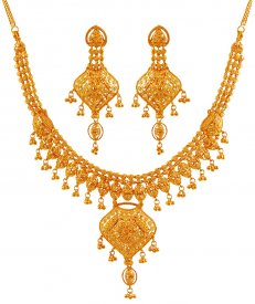 22k Gold Designer Necklace ( 22K Gold Necklace Sets )