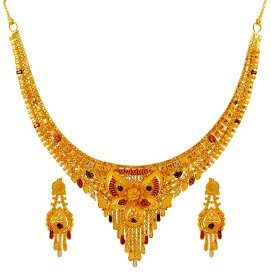 Tricolor Gold Necklace Set ( 22K Light Necklace Sets )