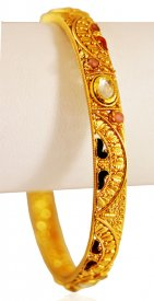 22KT Gold Bangle with Stones(1pc) ( 22K Antique Bangles )