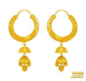 22 Kt Yellow Gold Bali ( 22K Gold Hoops )