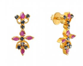 22K Gold Earrings With Ruby And Sapphire ( Gemstone Earrings )
