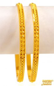 22K Gold Filigree  Bangles (2pcs) ( 22K Gold Bangles )