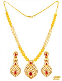 22K Gold Pearls, Ruby Necklace Set