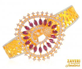 22 kt  Gold Openable Kada ( Gold CZ Bangles )