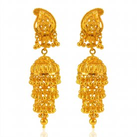 22Kt Gold Layered Jhumki Earrings