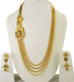 22K Gold Layered Chain Kundan Set ( 22K Necklace Sets (Long) )
