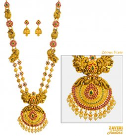 22 KT Gold  Antique Necklace Set ( 22K Antique Necklace Sets )