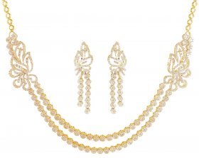 18K Gold Layered Diamond Set ( Diamond Necklace Sets )