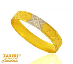 Fancy Two Tone 22K Band ( Gold Wedding Bands )