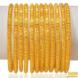 22Kt Gold Bangles Set (12 PCs)
