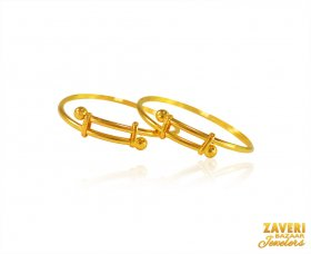 22K Gold Kids Kada (2PC) ( Baby Bangles )
